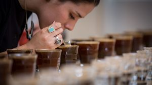 Marianela Montero cupping coffee at our Nordic Approach headquarters in Oslo